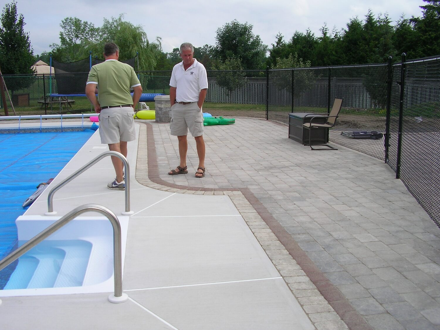 pool stone installation